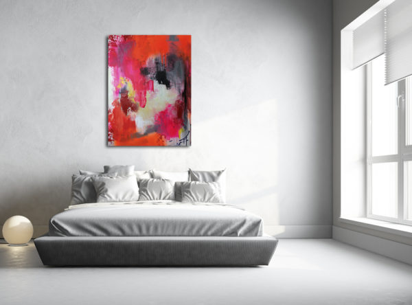 Indian Spices, Size: 80x60 cm | 31×24', fluorescent abstract painting, orange, pink, red, grey, by Wiktoria Florek, painting for a bedroom