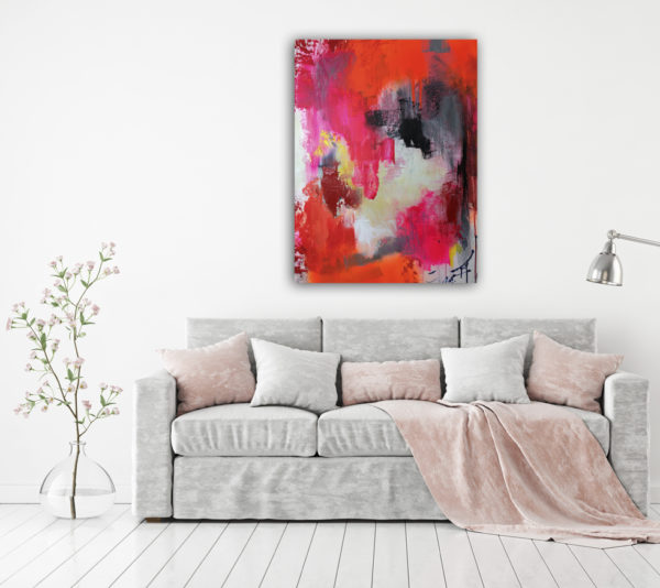 Indian Spices, Size: 80x60 cm | 31×24'' fluorescent abstract painting, orange, pink, red, grey, by Wiktoria Florek, painting for a living room