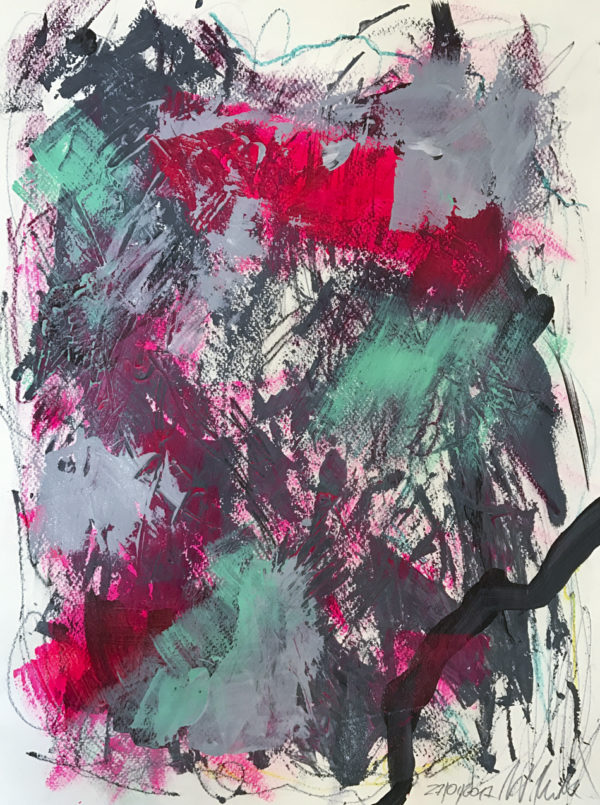 Wild, abstract painting, vibrant painting, fluorescent pink, grey, dark, wiktoria florek, abstraction