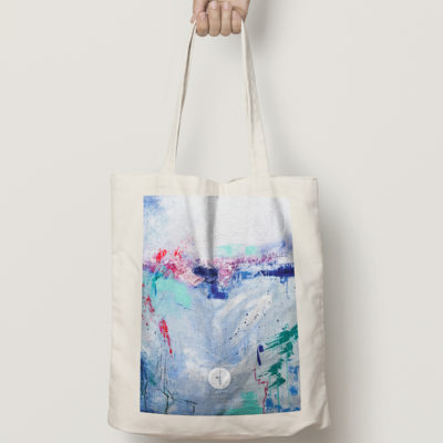Abstract Cotton Bag Azure Breeze