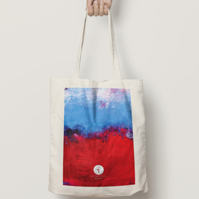 "Abstract Cotton Bag ""Raspberry Blue"""