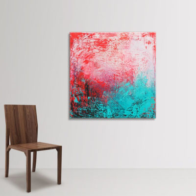Cranberry Teal, abstract painting by Wiktoria Florek