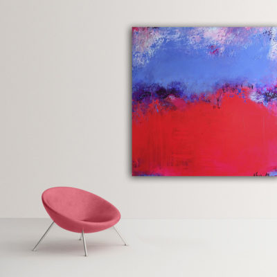 """Raspberry Blue"", vibrant abstract painting by Wiktoria Florek"