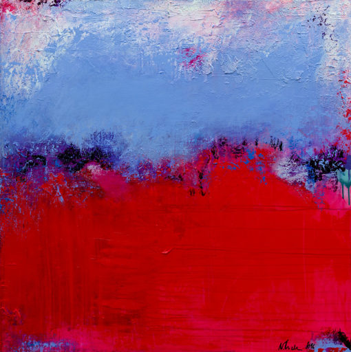 """""""Raspberry Blue"""", vibrant abstract painting by Wiktoria Florek"""