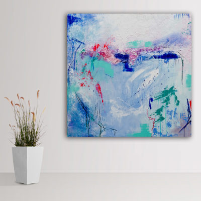 """The Azure Breeze"", fun abstract painting by Wiktoria Florek"