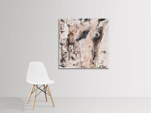 Nude no 2, brown nude painting by Wiktoria Florek