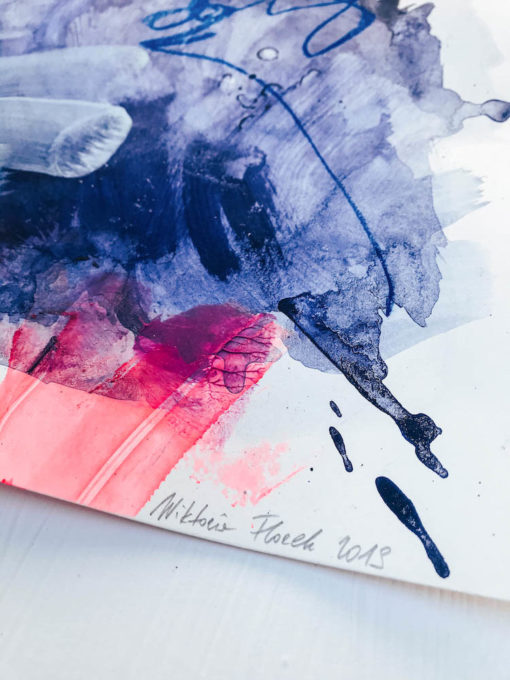 Blue and Pink - Love no2 abstract painting detail