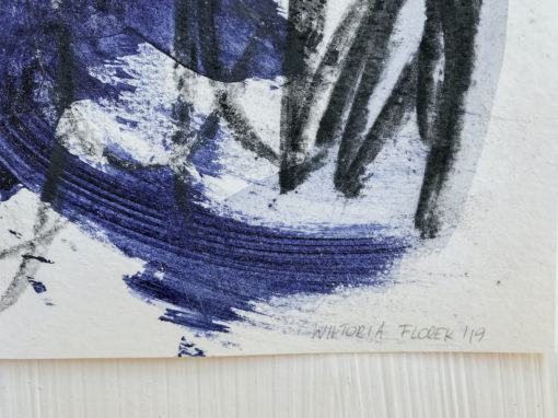Blue abstract painting signature