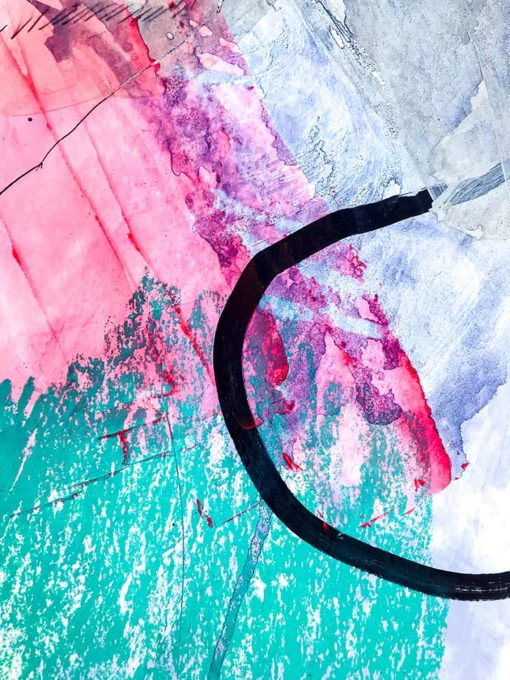 Green_Pink abstract painting detail