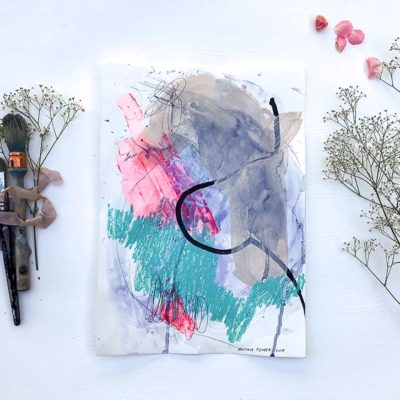 Green_Pink abstract painting lifestyle
