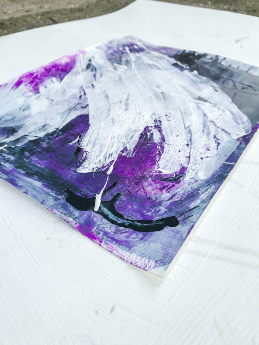 Purple abstract painting perspective