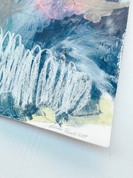 Blue Sky Abstract Painting Signature Wiktoria Florek