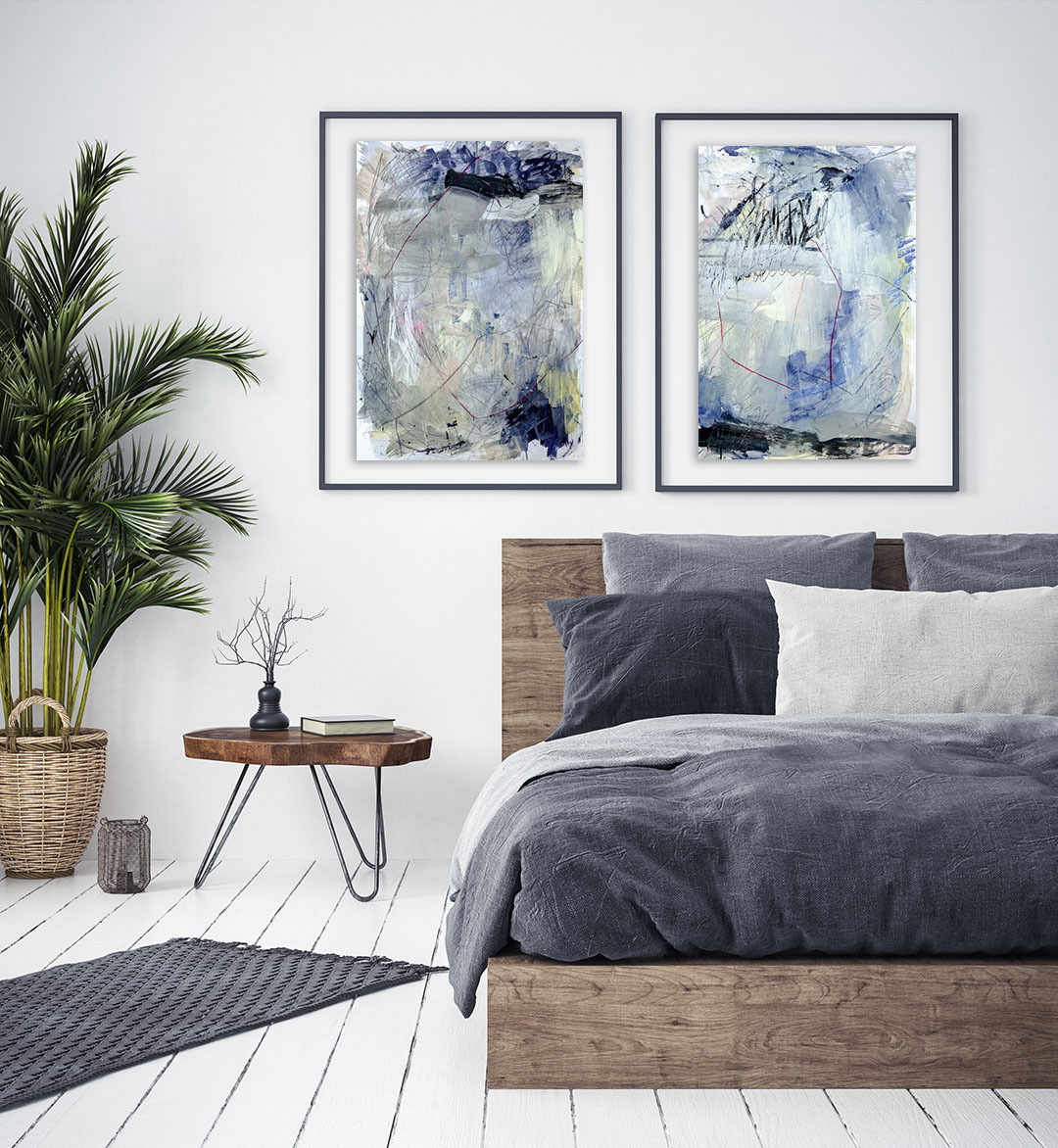 Blue Lagoon no 2 & 4, blue abstract paintings on paper by Wiktoria Florek