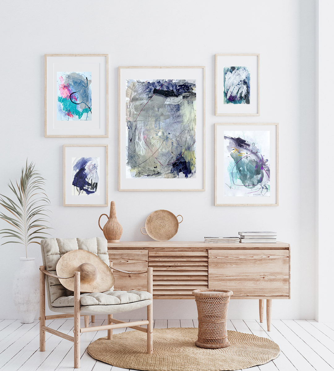 Gallery wall Wood, blue abstract paintings on paper by Wiktoria Florek
